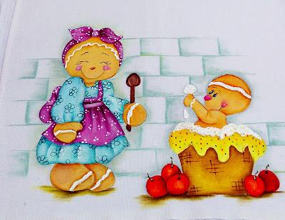 pintura de bonecos ginger mamae e filho