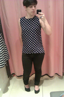 Navy and Ivory Polka Dot Shell Top