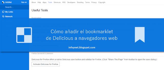 Cómo añadir el bookmarklet de Delicious a navegadores web
