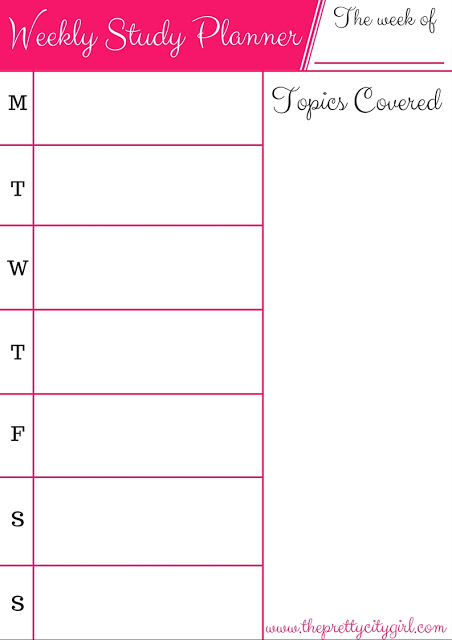 Galerry exam study planner printable
