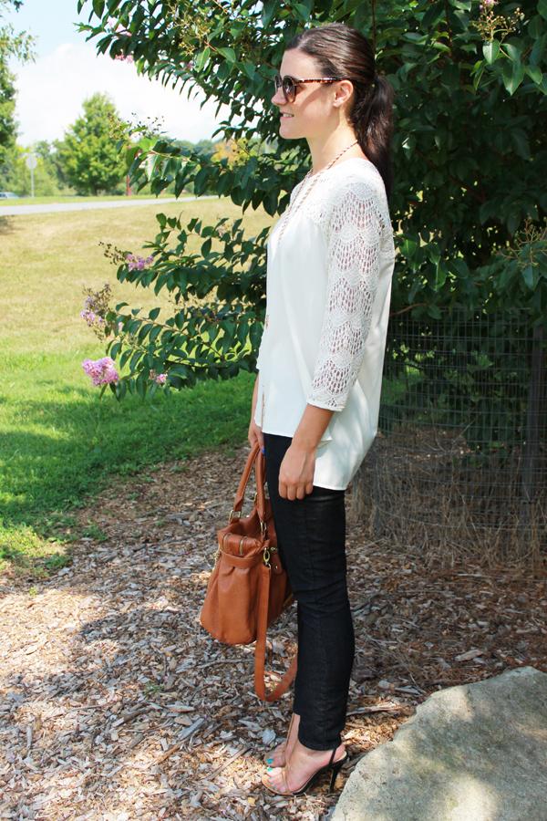 Forever 21 crochet top, skinny jeans