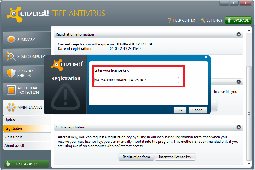 avast new key