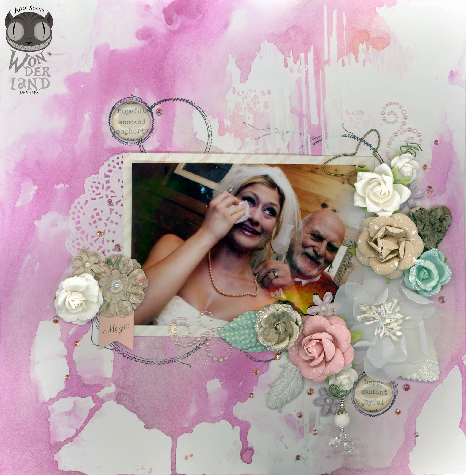 String of Pearls by Alice Scraps Wonderland | A soft pink watercolor background and lots of Prima Marketing flowers showcase this touching photo of the bride and her father.