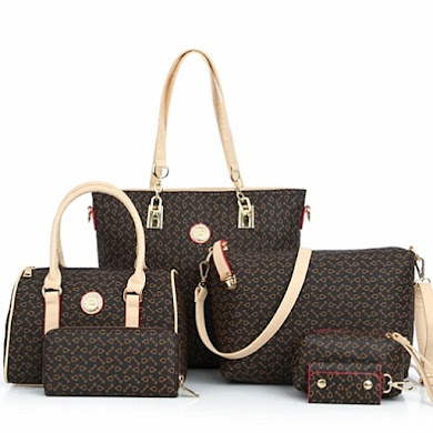 AA FASHION BAG ( 6 IN 1 SET) - Coffee