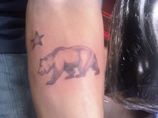 California Bear Flag Arm Tattoo