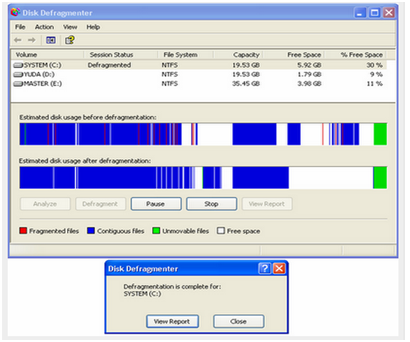 Disk Defragmenter Saat Melakukan Degragment
