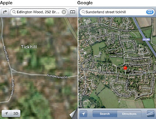 comparison Apple map and Google map