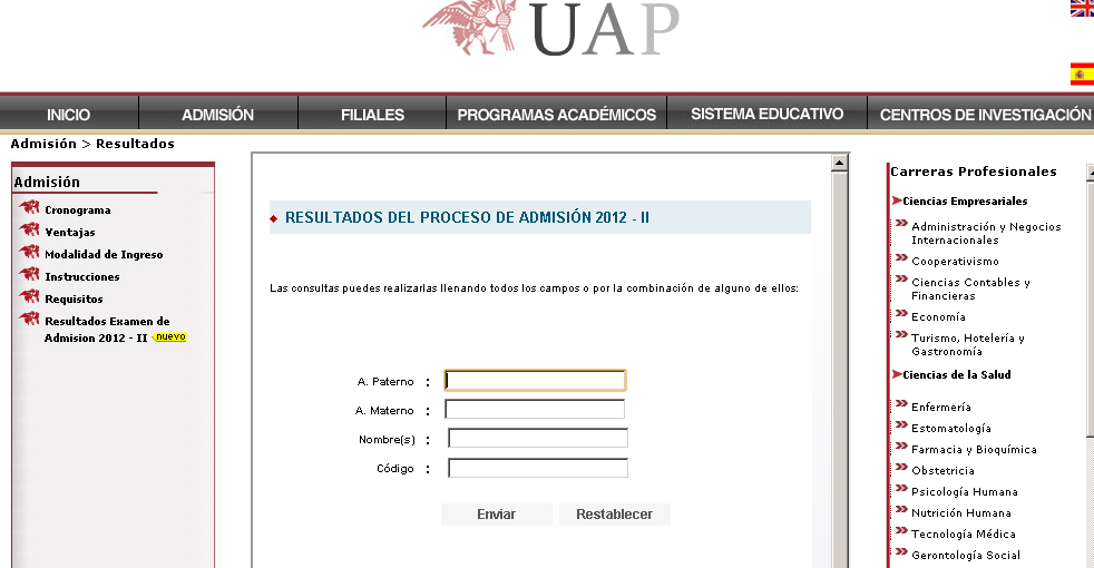Resultados exámen UAP 2014 I Ingresantes 30 de Marzo