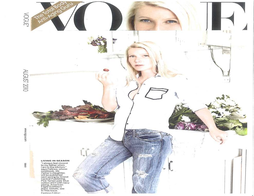 Gwyneth Paltrow wearing AE Jeans in Vogue, August 2010