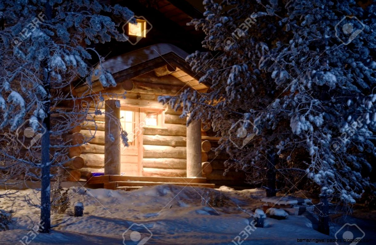 Cozy Wooden Cottage In Dark Winter Forest Stock Photo Picture And