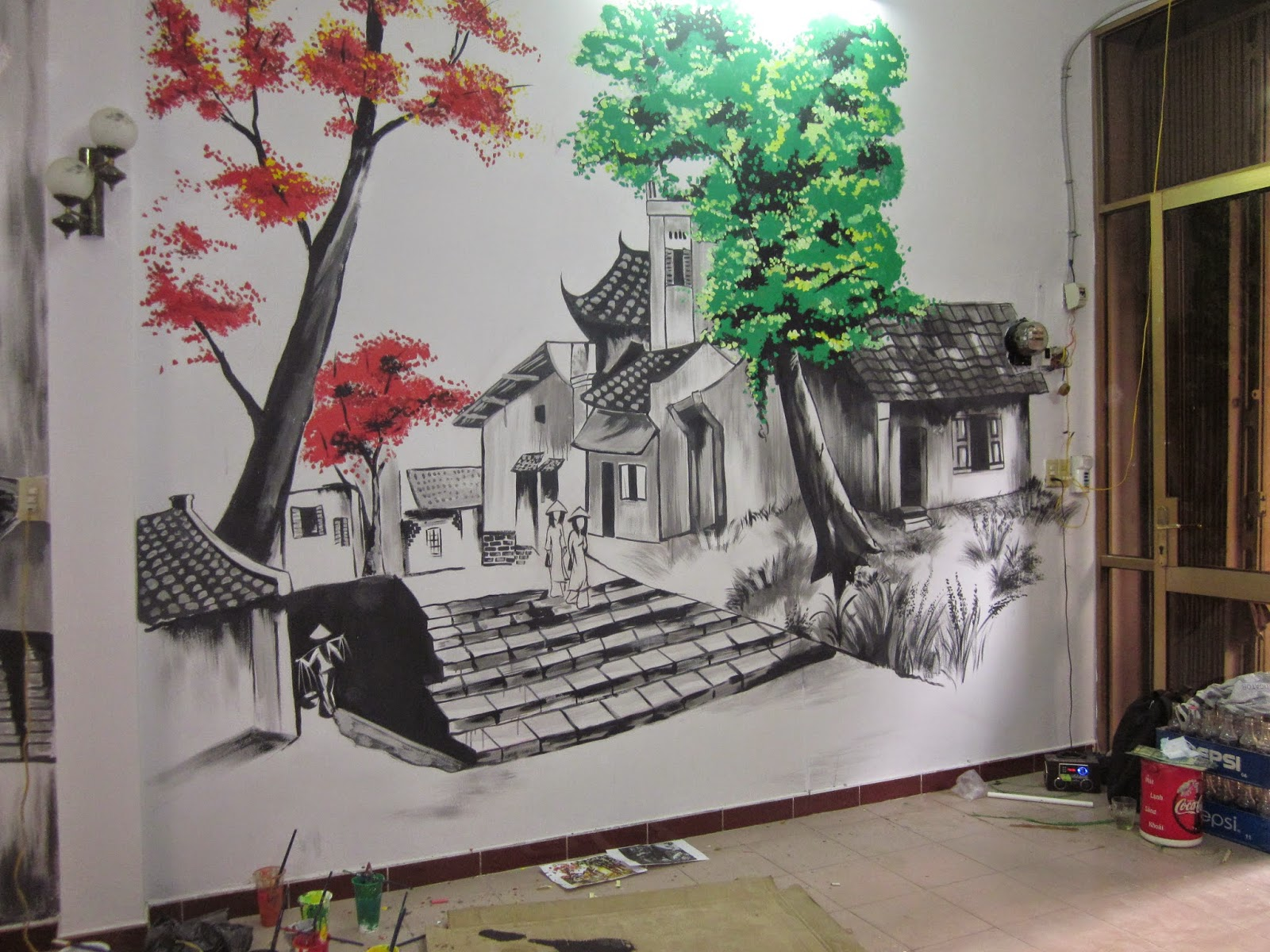 Kết quả hình ảnh cho vẽ tranh tường cafe