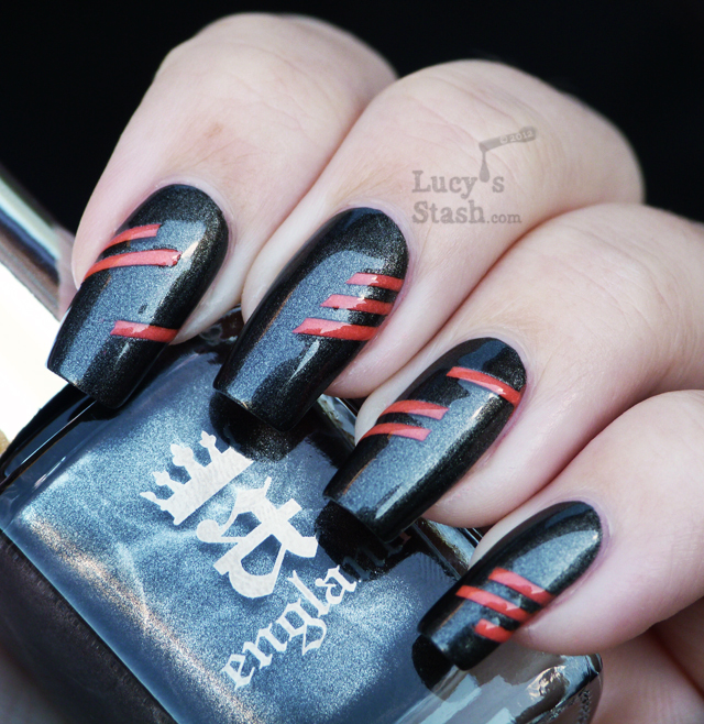 Lucy's Stash - A England Dorian Gray with neon stripes nail art