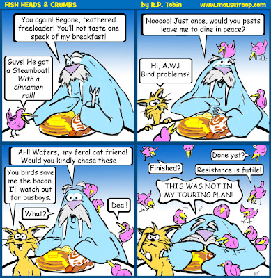 Fish Heads Crumbs birds breakfast comic strip Disneyland walrus