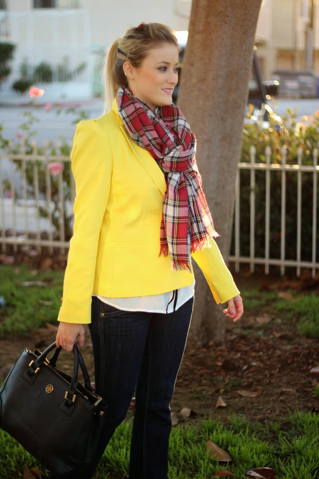 Tartan Plaid Scarf, Thanksgiving Outfit, Yellow Blazer, Hudson Denim