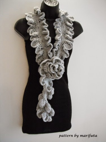 How To Crochet Ruffle Rose Scarf Free Pattern Tutorial For Beginners : Free crochet patterns and video tutorials: how to Crochet ...