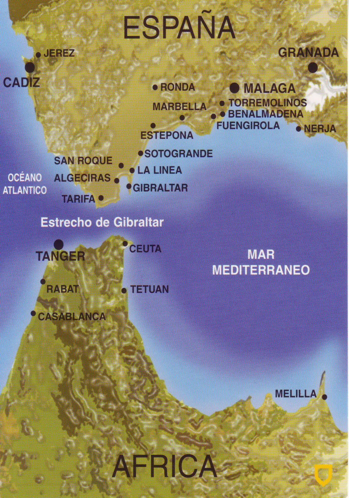 The World In Postcards Sabine S Blog Map Of The Strait Of Gibraltar