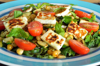 Warm Mixed Vegetable, Chickpea and Halloumi Salad