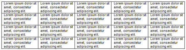 Table illustrating the default top and bottom padding of 0 cm