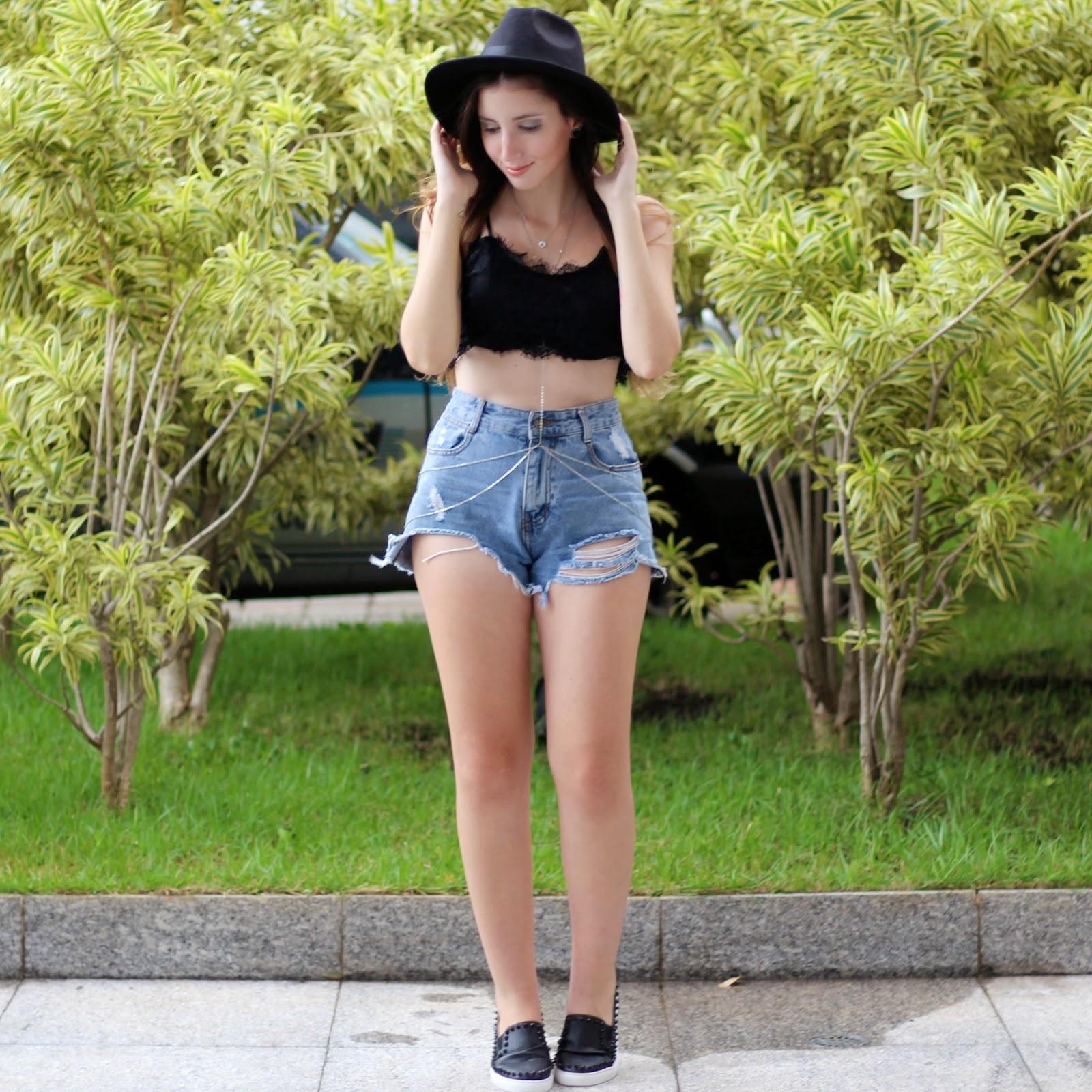 shorts jeans de cintura alta