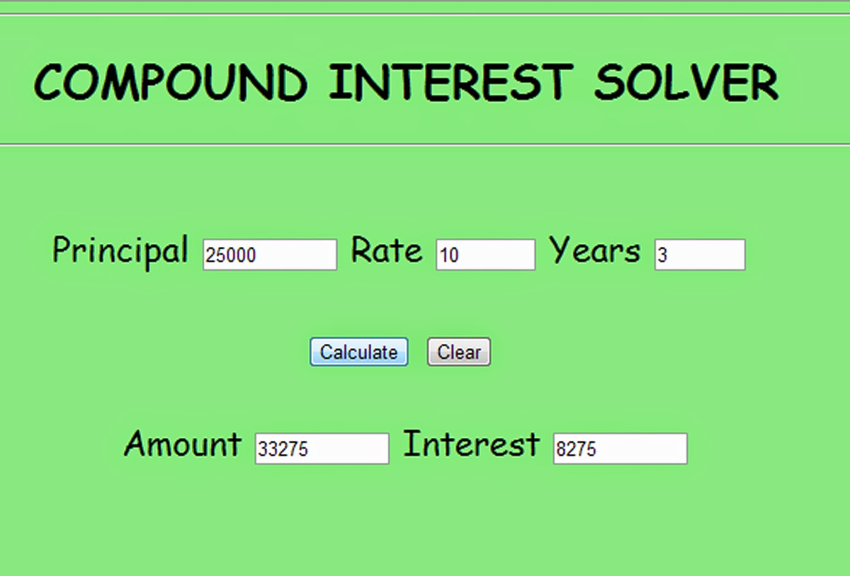 free programming source codes to all compound interest solver in