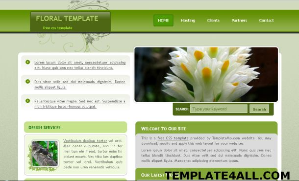 Article Free Floral Green Css Jquery Website Template