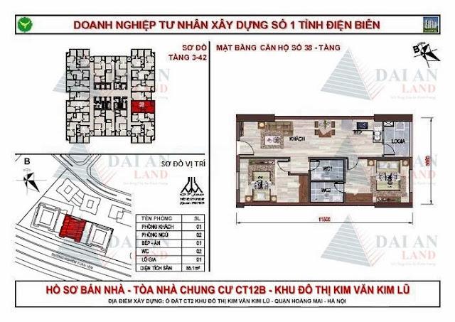 Căn 38 - Tòa CT12B Chung Cư Kim Văn Kim Lũ