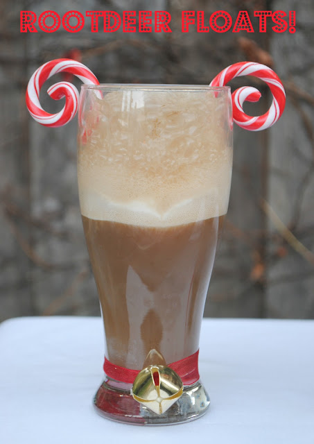 A cheery Root-deer Float is perfect for a Christmas party! Featured on Design Dazzle.