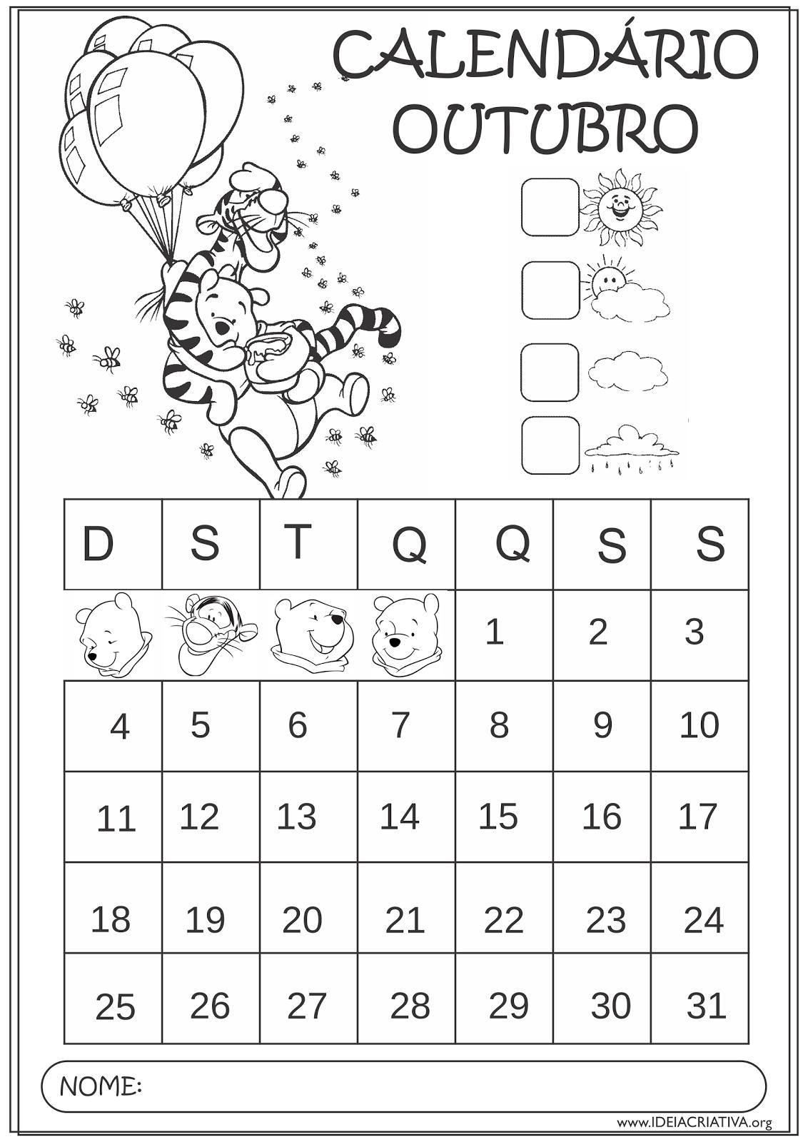 Calendários Outubro 2015 Turma do Ursinho Pooh Educação Infantil