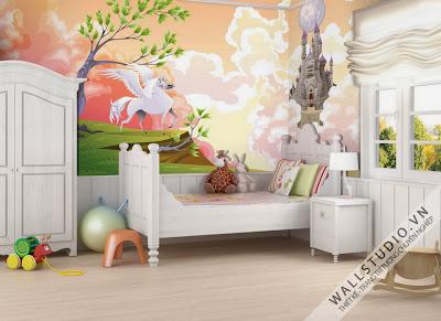 vẽ tranh tường phòng trẻ em