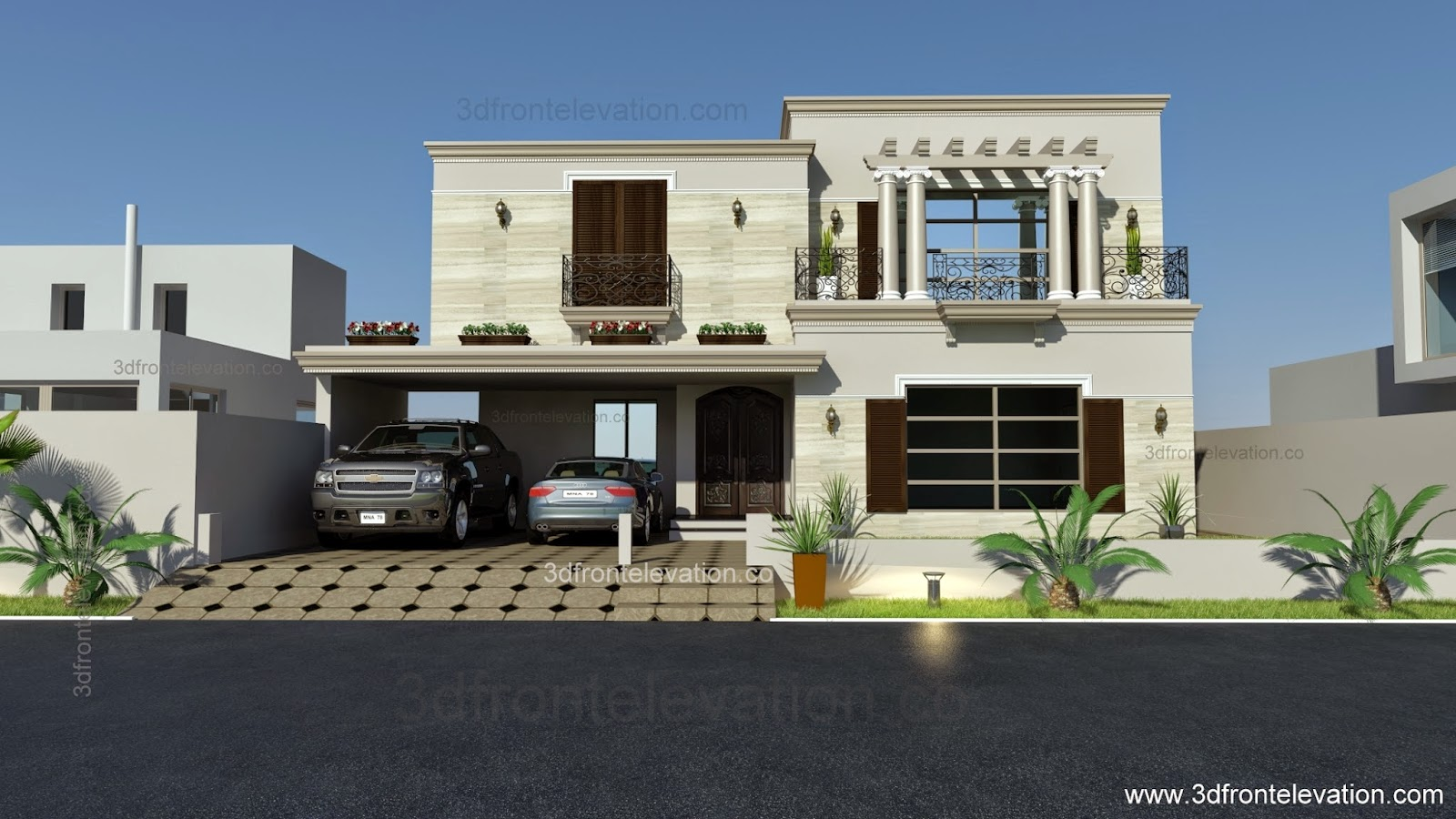 3d front 1 kanal spanish house design plan for Design this house