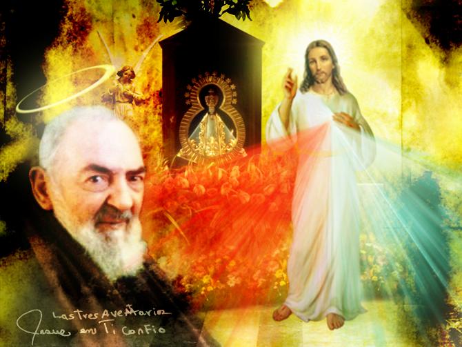 imagen de jesus con el padre pio