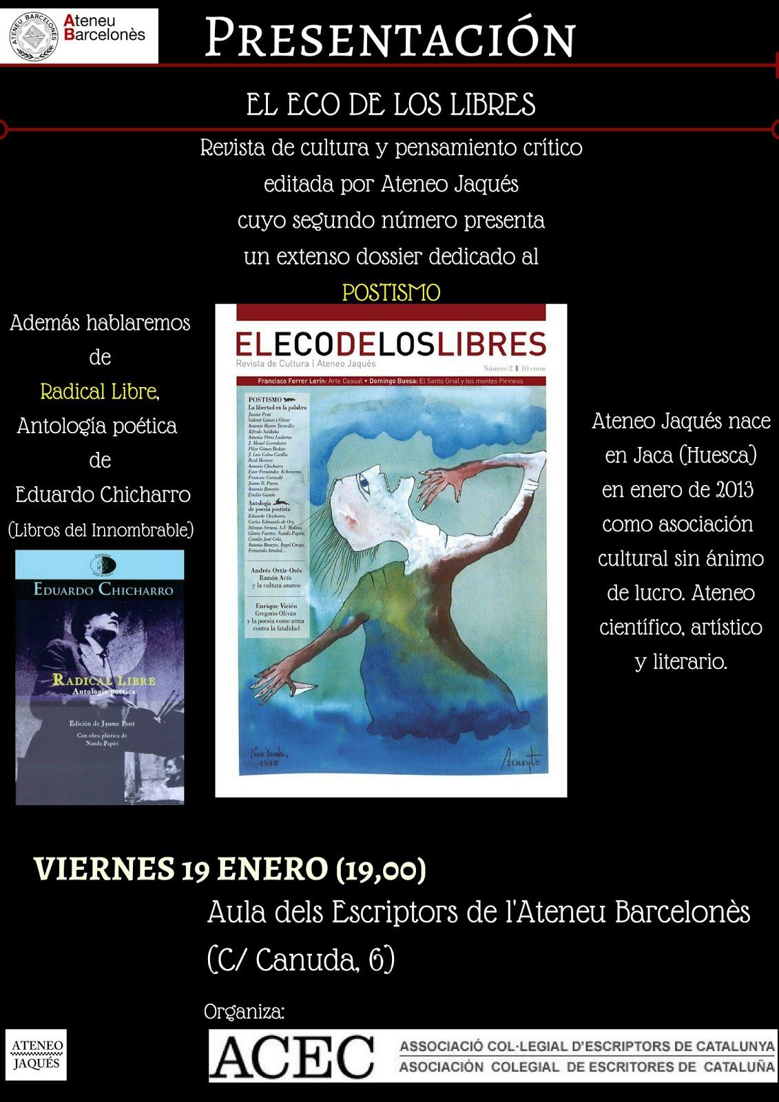 """19 ENERO BARCELONA: Presentación """"El eco de los libres"""" (19,00)"""