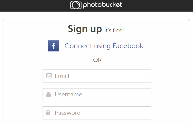 signup on photobucket