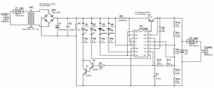 rangkaian charger aki otomatis 1ah 55ah dengan uc3906 caratekno