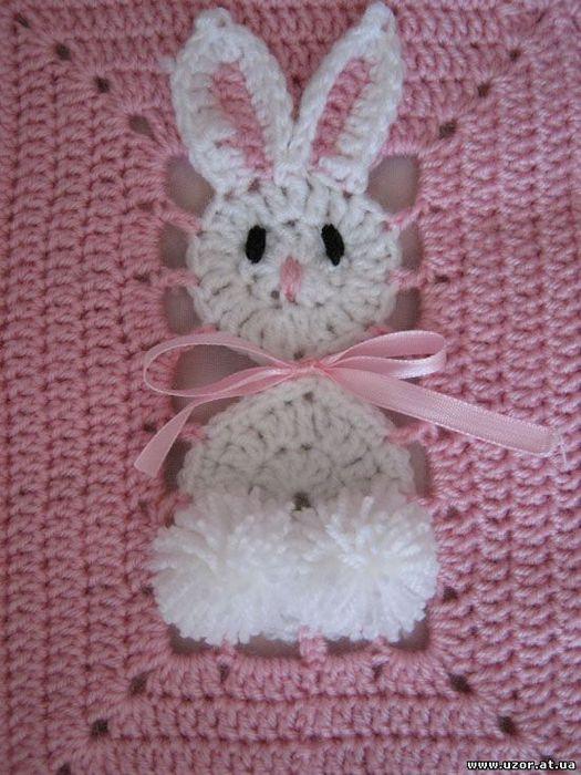 battaniye motifi Tavşan motifleri ile örülmüş çok şirin bebek battaniyesi