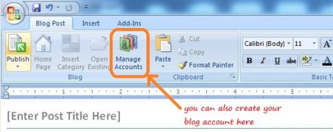How to create your blog account in Microsoft Word