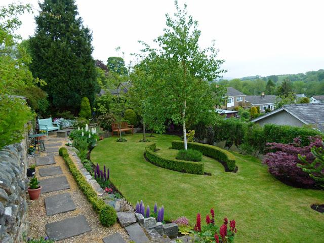 Burton in Lonsdale, open gardens, lupins, acer