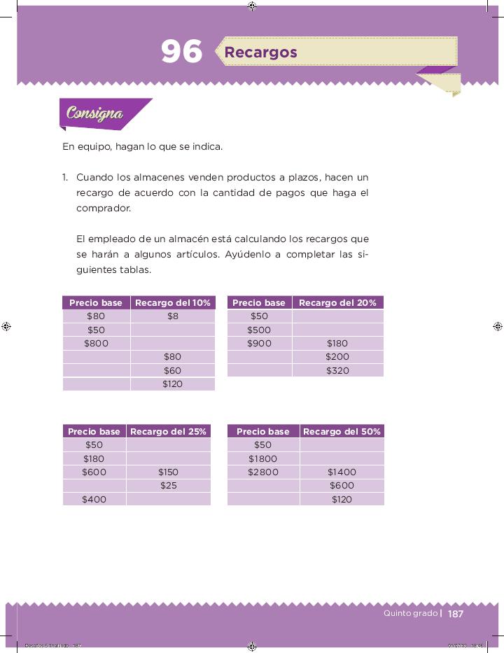 Recargos - Desafíos matemáticos Bloque 5 2014-2015