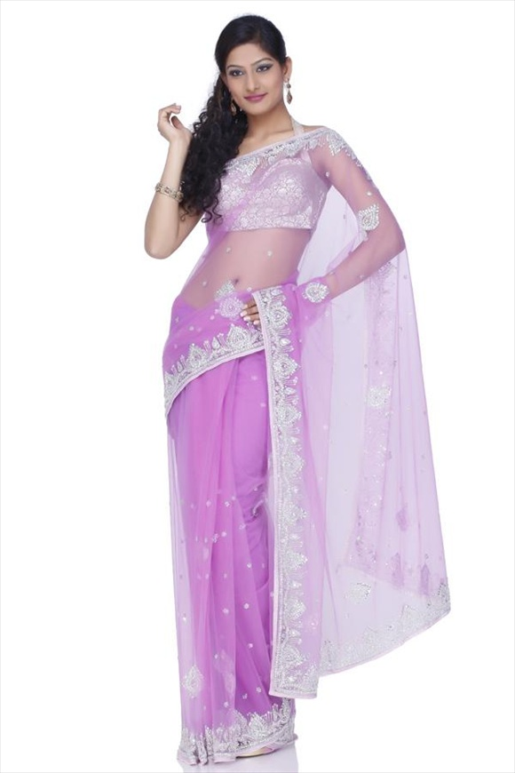 new Mauve Net Saree