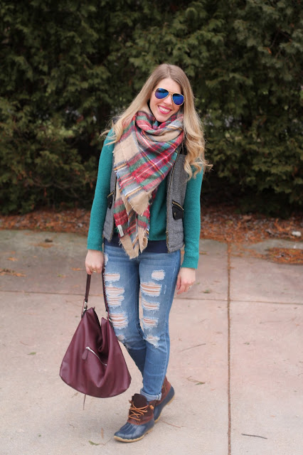 layered up with teal sweater, herringbone vest, blanket scarf, and distressed denim