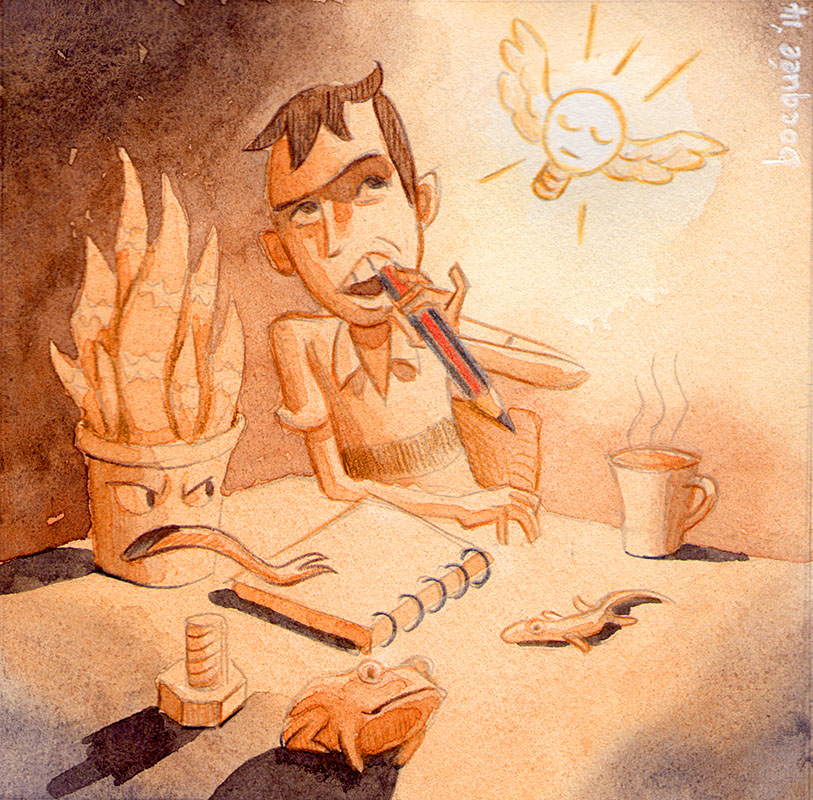 Watercolour illustration of artist at his desk