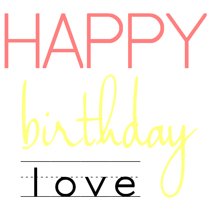 lámina happy birthday love decorar
