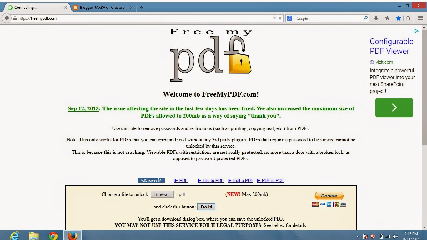 Freemypdf After Opening This Site Browse Your File You Want To Crack And  Click Do It