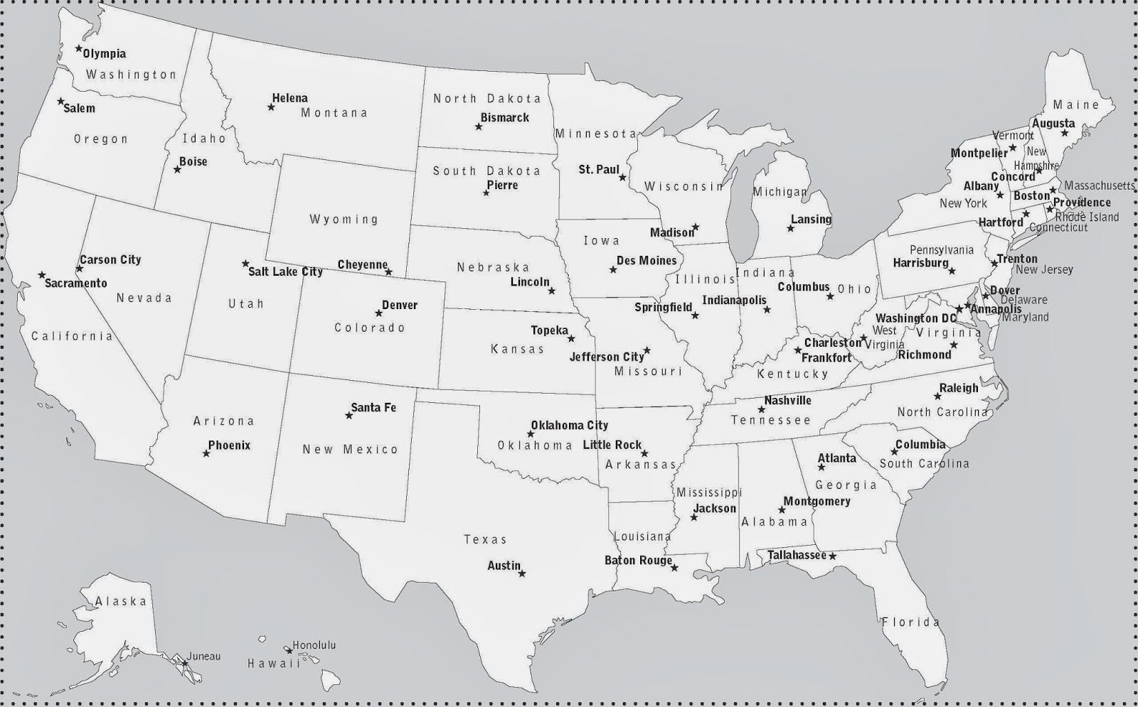 Map Of Us States And Their Capitals Images United States - Map of the us states and their capitals
