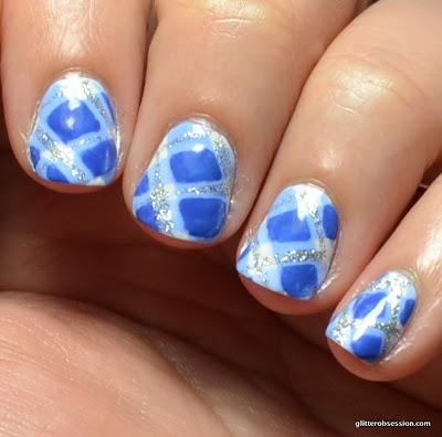 31dc2013, blue nails, blue nail polish, plaid nails, plaid nail art, blue plaid nail art, nail art,