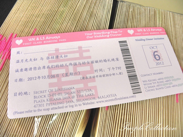 Chinese Double Happiness Boarding Pass Wedding Card, Chinese, Double Happiness, Pink, WK & LS Airways, WK, LS, WK & LS, Secret of Louisiana, First Class Boaring Pass, Wedding Dinner, Wedding Dinner Invitation, Invitation, Wei Keong, Chong Kuwee Chin, Li Shian, Woon Yit Kong
