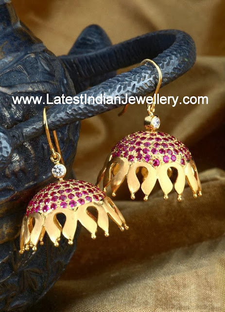 Stylish Decorative Ruby Jhumkis