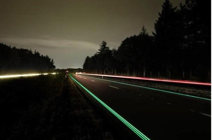 """Λαμπερές Γραμμές """" φορτώνουν ενέργεια κατά τη διάρκεια της ημέρας και λαμπυρίζουν μέσα στη νύχτα."""