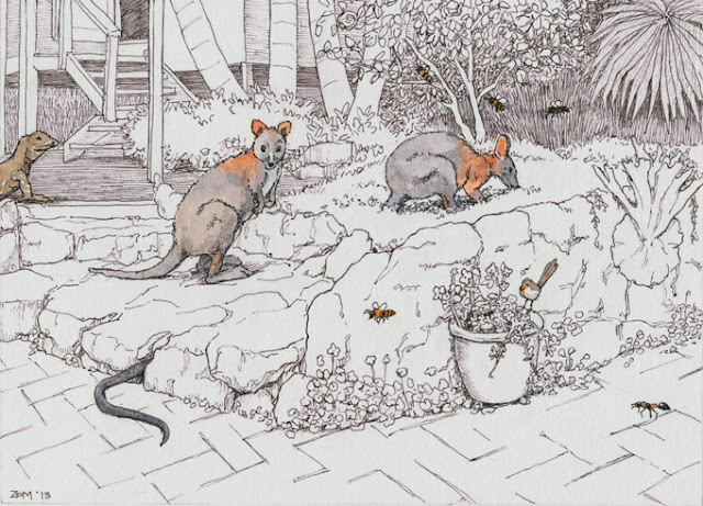 pen and watercolour drawing of animals in the yard