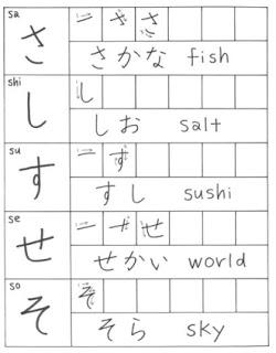 menulis hiragana sasisuseso